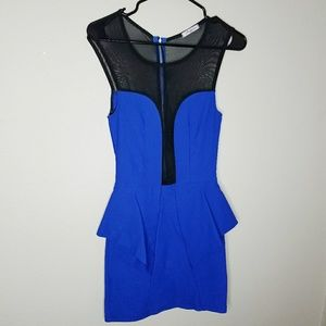 HP Auditions Blue Peplum Bodycon Dress Mesh Panel